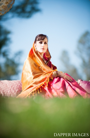 Indian wedding bridal portrait outdoors colorful