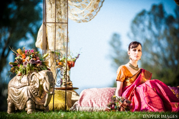 Indian wedding bridal inspiration shoot outdoors portrait