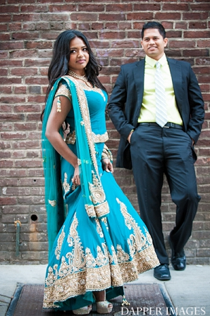 Indian wedding engagement bride and groom full body portraits in Sunday Sweetheart Winners ~ Kazi and Malyha by Dapper Images