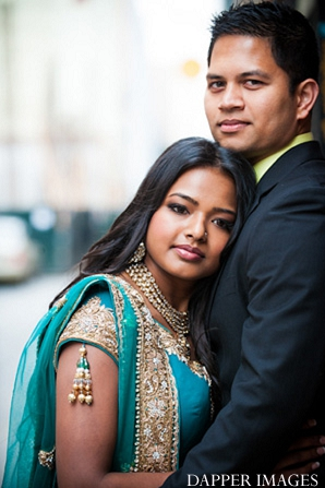 Indian wedding engagement color bride and groom portraits in Sunday Sweetheart Winners ~ Kazi and Malyha by Dapper Images