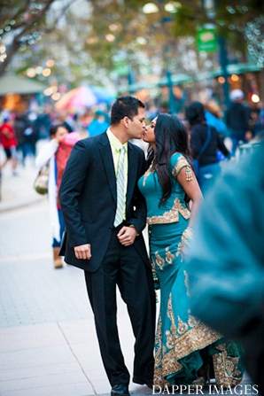 Indian wedding engagement kissing street portraits in Sunday Sweetheart Winners ~ Kazi and Malyha by Dapper Images