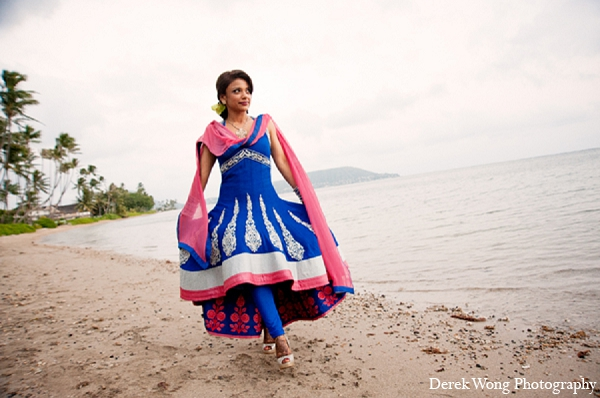 Indian wedding beach bride anarkali suit blue in Kailua, Hawaii Indian Wedding by Derek Wong Photography
