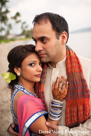 Indian wedding beach bride groom sangeet portraits in Kailua, Hawaii Indian Wedding by Derek Wong Photography