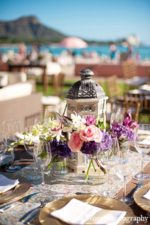 Indian wedding beach floral reception decor in Kailua, Hawaii Indian Wedding by Derek Wong Photography