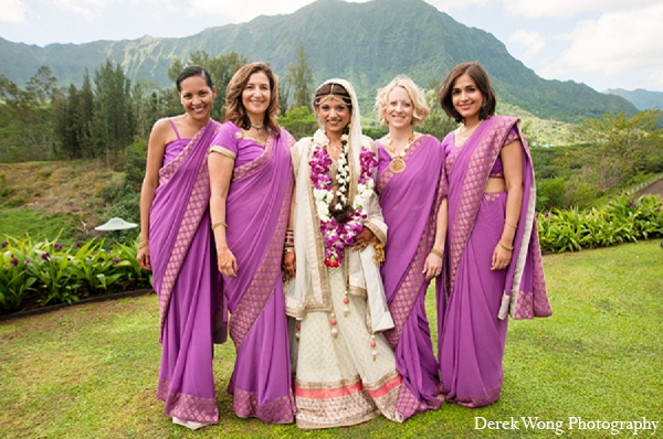 Indian wedding bridal outfit white lengha purple sari in Kailua, Hawaii Indian Wedding by Derek Wong Photography