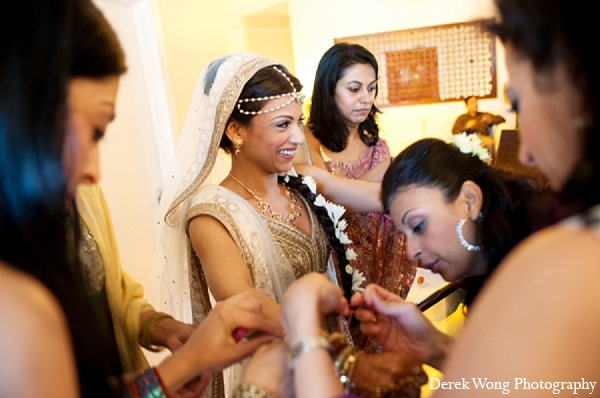 Indian wedding bride getting ready hair in Kailua, Hawaii Indian Wedding by Derek Wong Photography