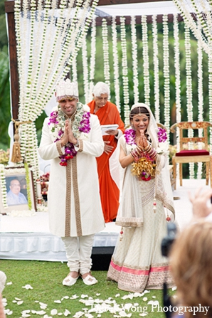 Indian wedding bride groom ceremony floral mandap in Kailua, Hawaii Indian Wedding by Derek Wong Photography