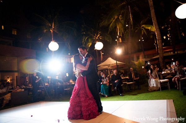 Indian wedding bride groom dance photography in Kailua, Hawaii Indian Wedding by Derek Wong Photography