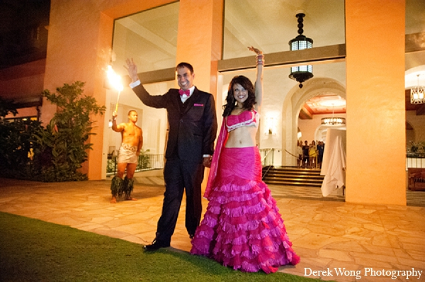 Indian wedding bride groom reception hot pink lengha in Kailua, Hawaii Indian Wedding by Derek Wong Photography