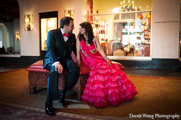 Indian wedding bride groom reception portraits hot pink lengha in Kailua, Hawaii Indian Wedding by Derek Wong Photography