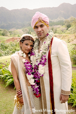 Indian wedding bride portraits groom in Kailua, Hawaii Indian Wedding by Derek Wong Photography