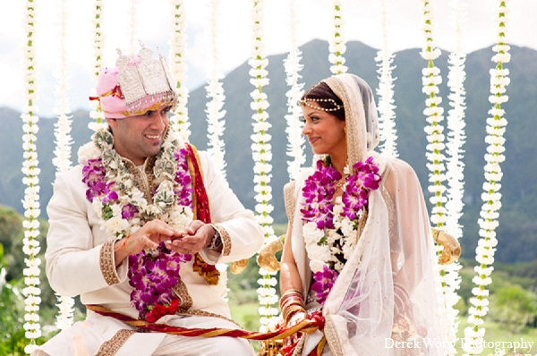 Indian wedding ceremony bride groom outdoor in Kailua, Hawaii Indian Wedding by Derek Wong Photography