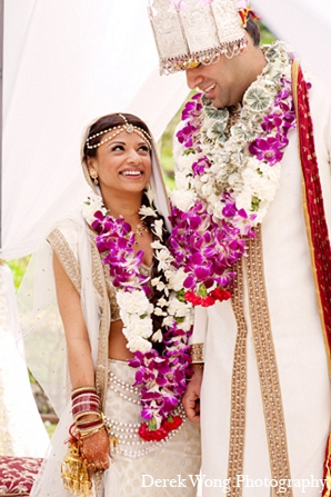 Indian wedding ceremony bride groom in Kailua, Hawaii Indian Wedding by Derek Wong Photography