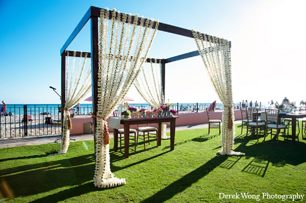Indian wedding floral decor reception beach in Kailua, Hawaii Indian Wedding by Derek Wong Photography
