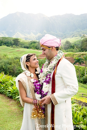 Indian wedding outdoor portraits bride groom in Kailua, Hawaii Indian Wedding by Derek Wong Photography