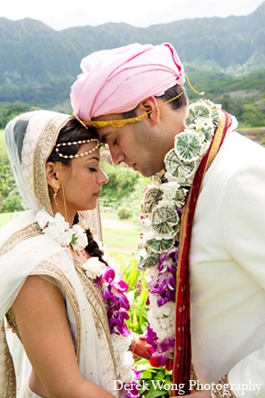 Indian wedding portraits bride groom in Kailua, Hawaii Indian Wedding by Derek Wong Photography
