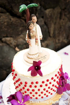 Indian wedding reception cake topper ideas in Kailua, Hawaii Indian Wedding by Derek Wong Photography