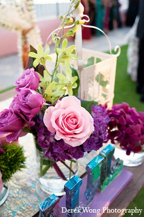 Indian wedding reception decor floral arrangments in Kailua, Hawaii Indian Wedding by Derek Wong Photography
