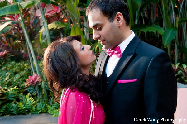 Indian wedding reception portraits bride groom in Kailua, Hawaii Indian Wedding by Derek Wong Photography
