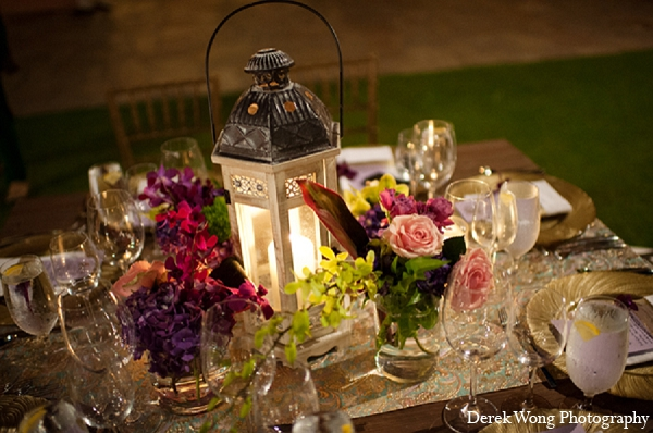 Indian wedding reception table settings floral in Kailua, Hawaii Indian Wedding by Derek Wong Photography