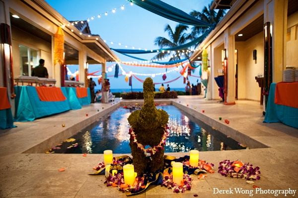 Indian wedding sangeet beach decor venue in Kailua, Hawaii Indian Wedding by Derek Wong Photography