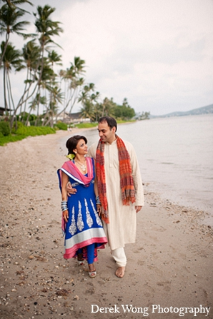 Indian wedding sangeet blue anarkali suit bride groom in Kailua, Hawaii Indian Wedding by Derek Wong Photography