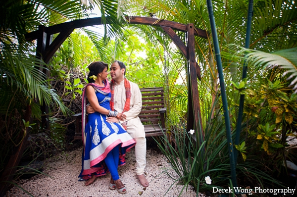 Indian wedding sangeet portraits bride outdoor groom in Kailua, Hawaii Indian Wedding by Derek Wong Photography