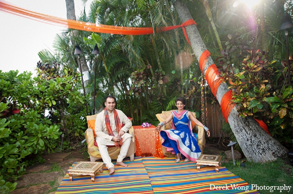 Indian wedding sangeet portraits outdoor bride groom in Kailua, Hawaii Indian Wedding by Derek Wong Photography