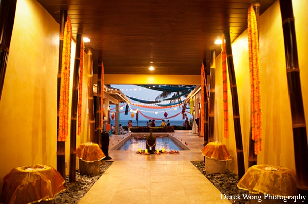 Indian wedding venue sangeet night decor in Kailua, Hawaii Indian Wedding by Derek Wong Photography