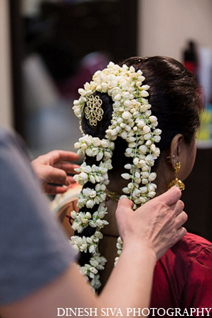 Indian wedding bridal hair traditional in Morganville, New Jersey Indian Wedding by Dinesh Siva Photography
