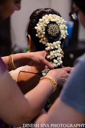 Indian wedding bride hindu traditional hair in Morganville, New Jersey Indian Wedding by Dinesh Siva Photography