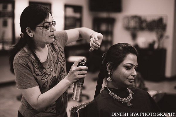 Indian wedding hindu bridal hair in Morganville, New Jersey Indian Wedding by Dinesh Siva Photography