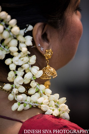 Indian wedding hindu traditional bridal hair in Morganville, New Jersey Indian Wedding by Dinesh Siva Photography