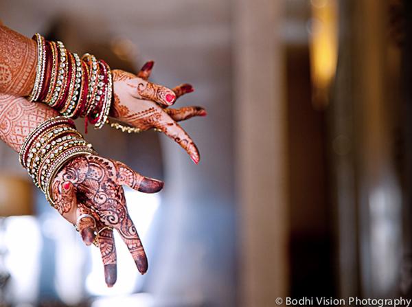 Indian wedding bangles red cream mehndi
