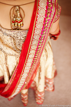 Indian wedding bridal fashion red gold sari