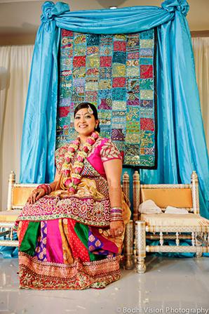 Indian wedding bride blue pink