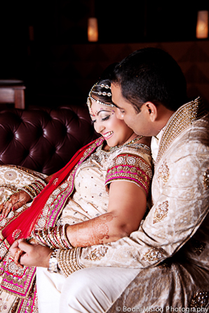 Indian wedding bride groom fashion cream red