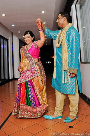 Indian wedding bride groom pink blue