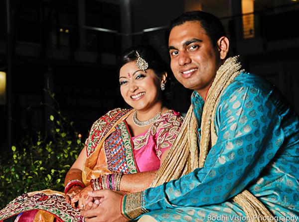 Indian wedding bride groom portrait