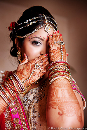 Indian wedding bride jewelry hair mehndi makeup