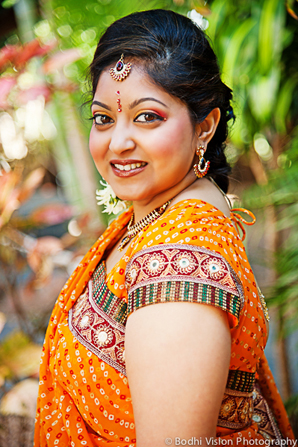 Indian wedding bride orange tradition