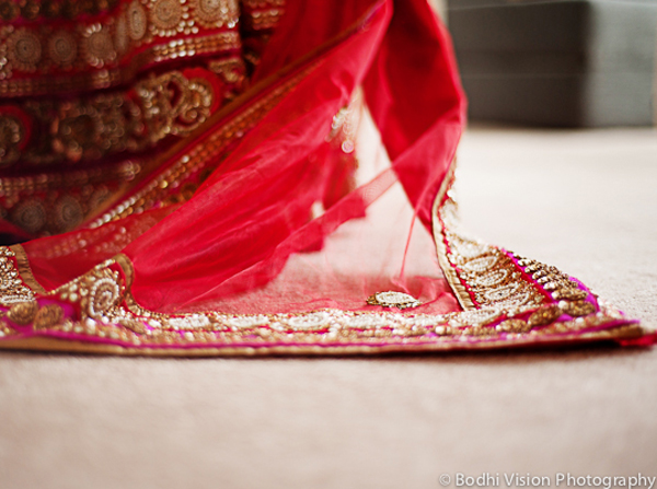 Indian wedding bride sari red gold