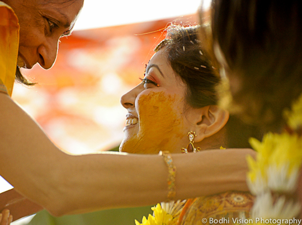 Indian wedding bride turmeric ceremony