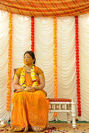 Indian wedding bride turmeric tradition