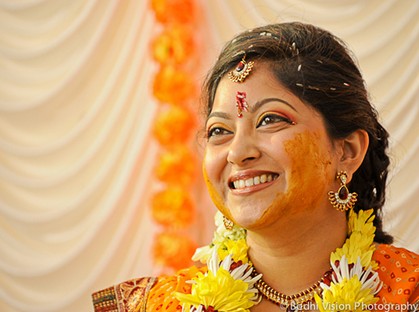 Indian wedding bride yellow orange tradition
