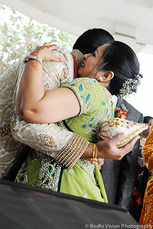 Indian wedding ceremony groom cream mandap