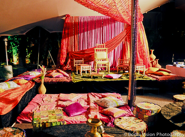 Indian wedding mehndi ceremony decor