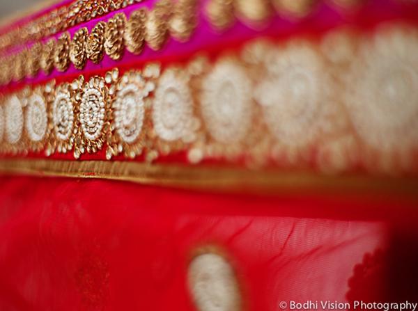 Indian wedding sari red gold