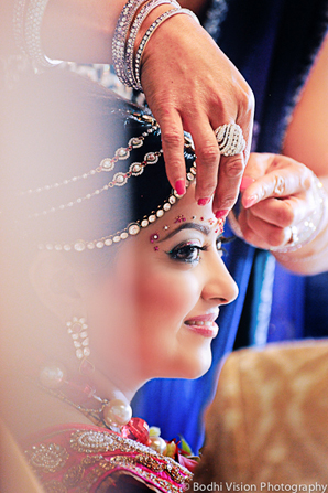 Indian wedding tradition bride hair makeup jewelry