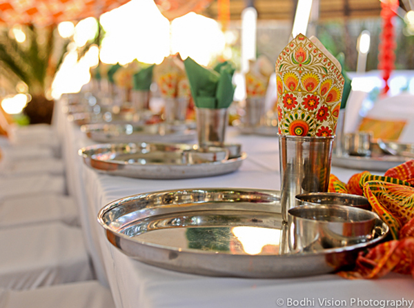 Indian wedding tradition decor table